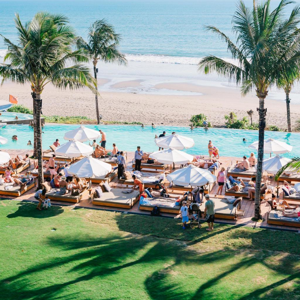 Potato Head Beach Club in Bali where cocktails are served in seashells