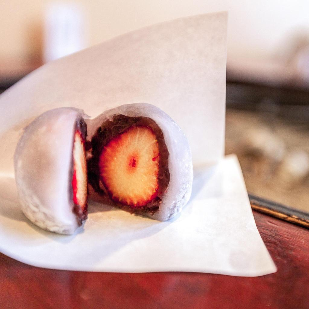A strawberry red bean mochi for the sweet toothed travellers