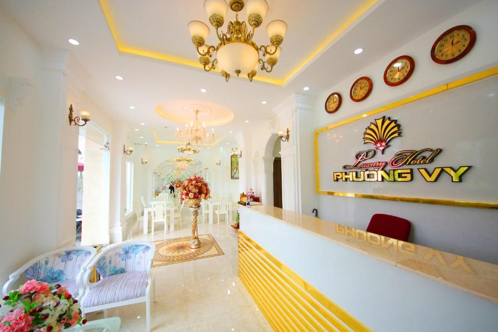 The lobby or reception area at Phuong Vy Luxury Hotel