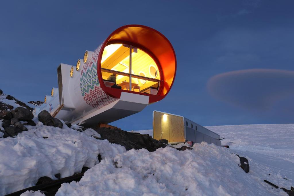 LeapRus Capsule Hotel during the winter
