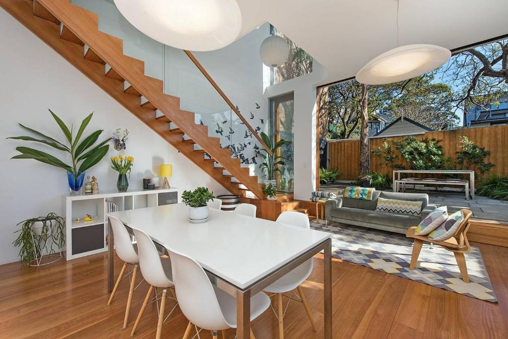 A restaurant or other place to eat at Stunning Architectural Family House In Rozelle