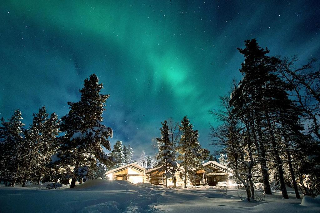 Polar Aurora Cabins during the winter