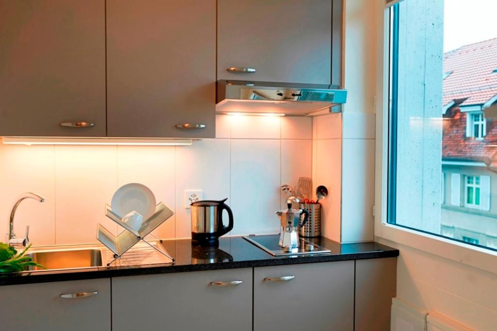 A kitchen or kitchenette at Congress Apartments by Hotel du Commerce