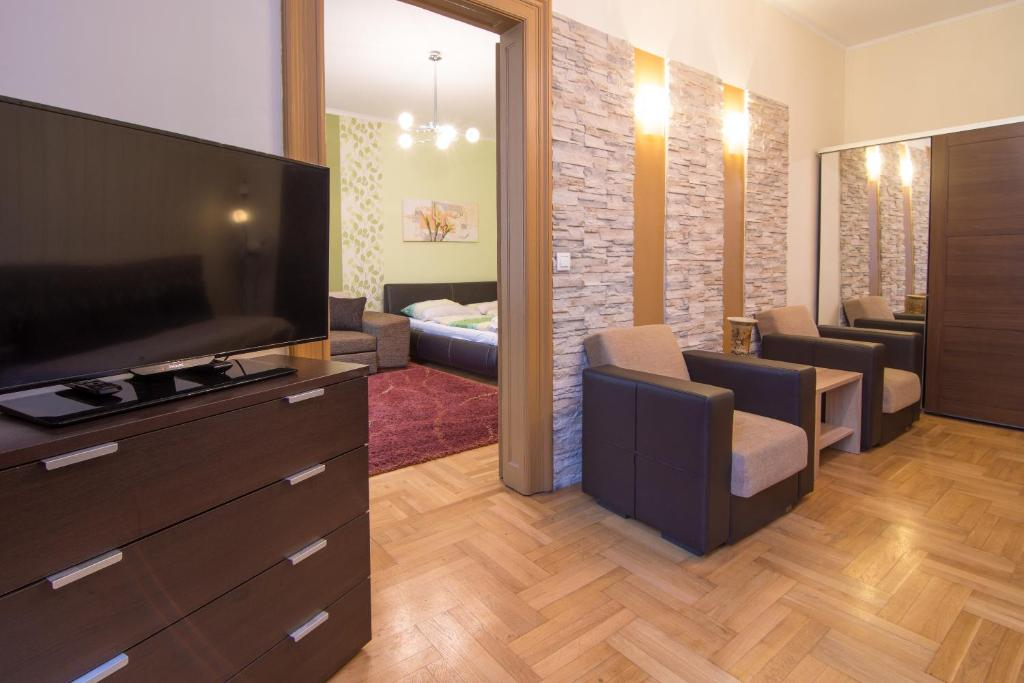 A television and/or entertainment center at Budapest Oktogon Apartment