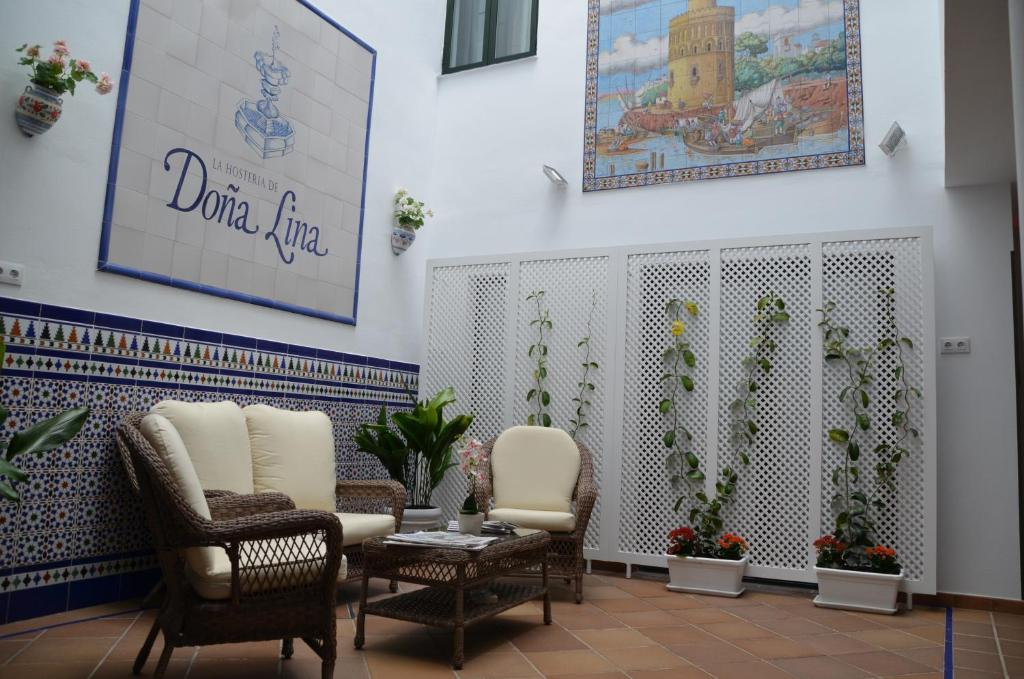 The lobby or reception area at Hotel Doña Lina