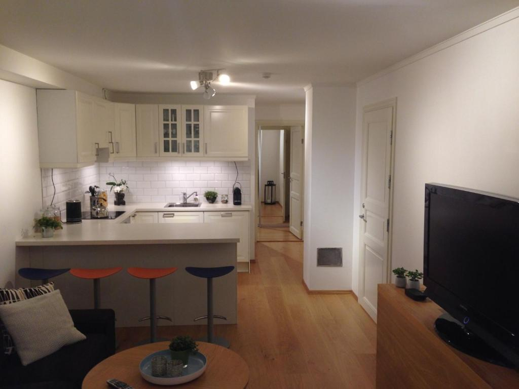 A kitchen or kitchenette at Cozy basement apartment near central Oslo