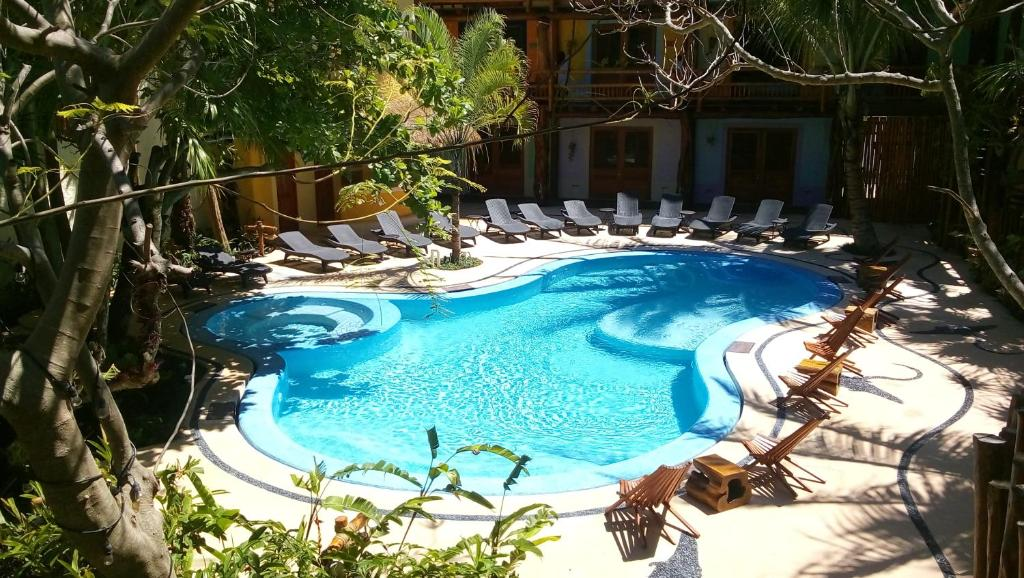 A view of the pool at Hotel El Pueblito or nearby