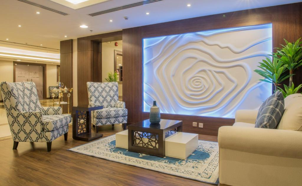 The lobby or reception area at Normina Hotel Suites