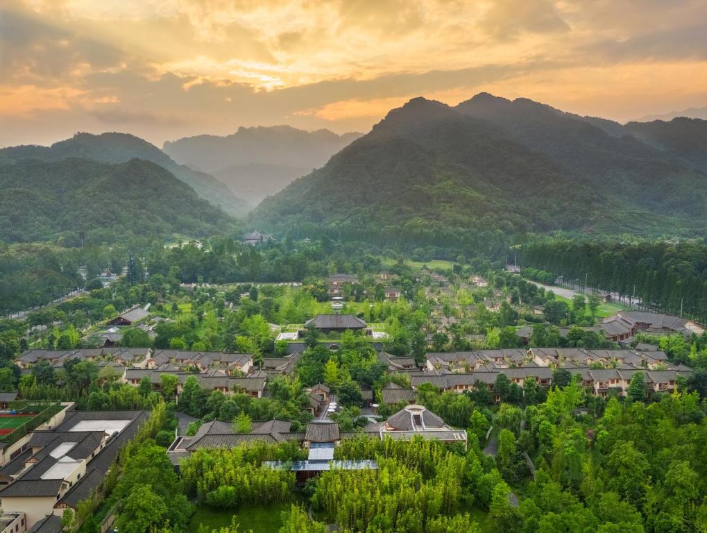 A bird's-eye view of Six Senses Qing Cheng Mountain
