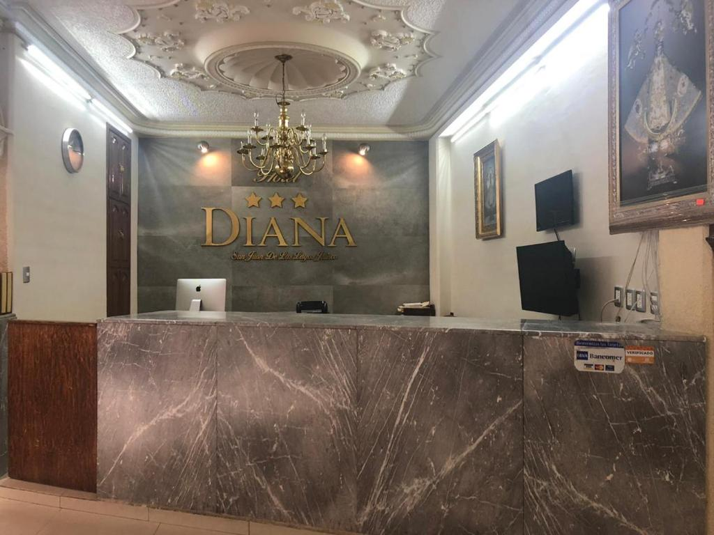 The lobby or reception area at Hotel Diana