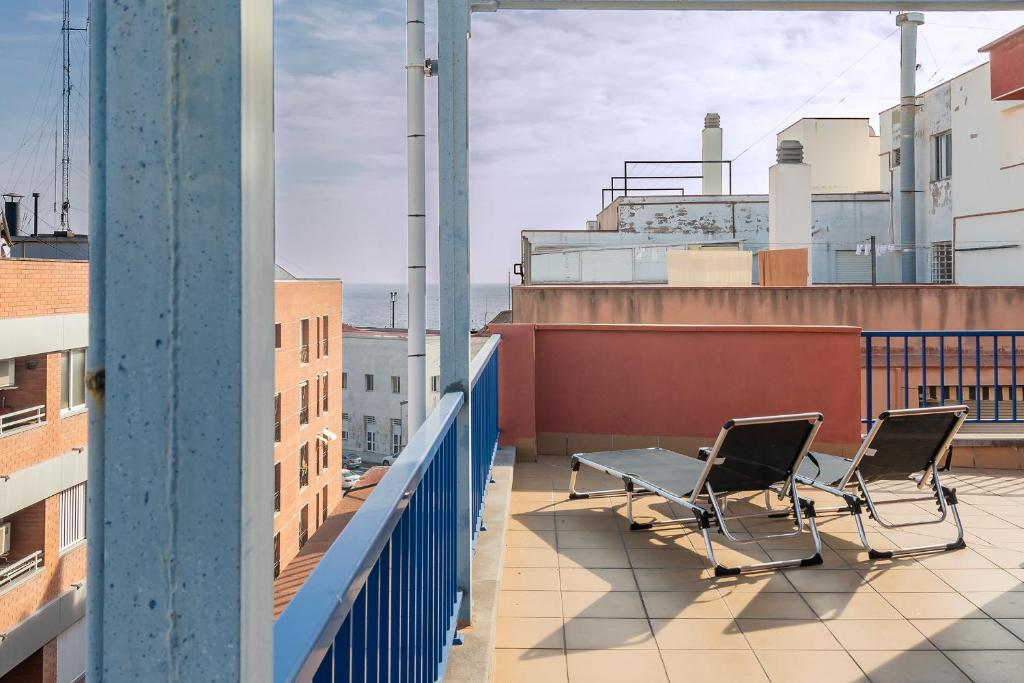 A balcony or terrace at RETRO VINTAGE PENTHOUSE WITH SEA VIEWS