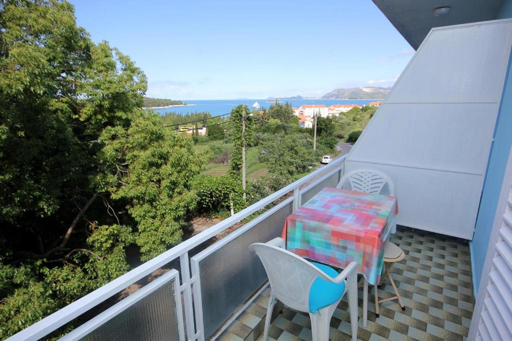 A balcony or terrace at Rooms with a swimming pool Cavtat (Dubrovnik) - 5222