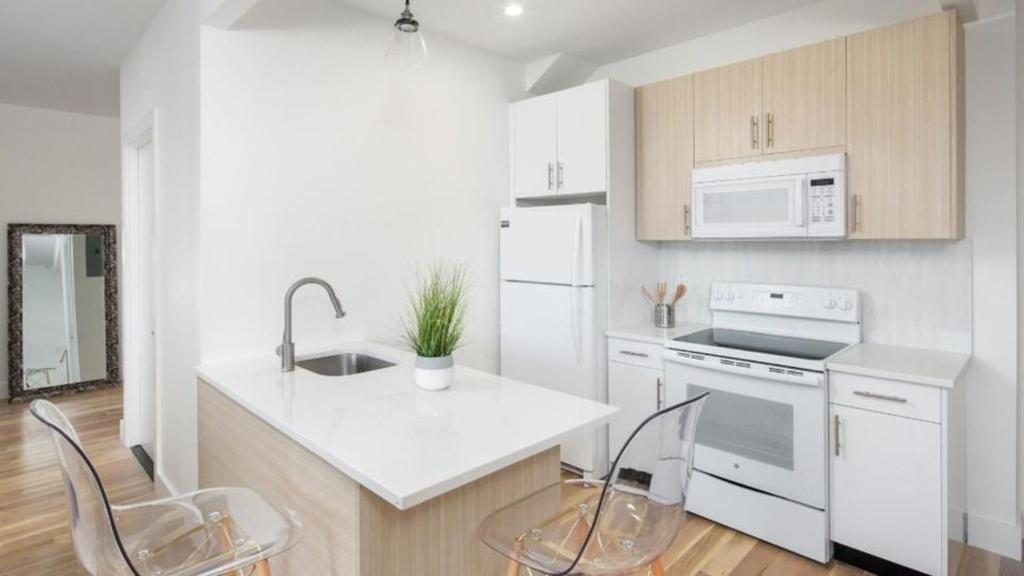 A kitchen or kitchenette at Sheepshead Bay Pearl