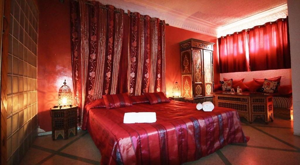 Un ou plusieurs lits dans un hébergement de l'établissement Riad Les Chtis D'Agadir
