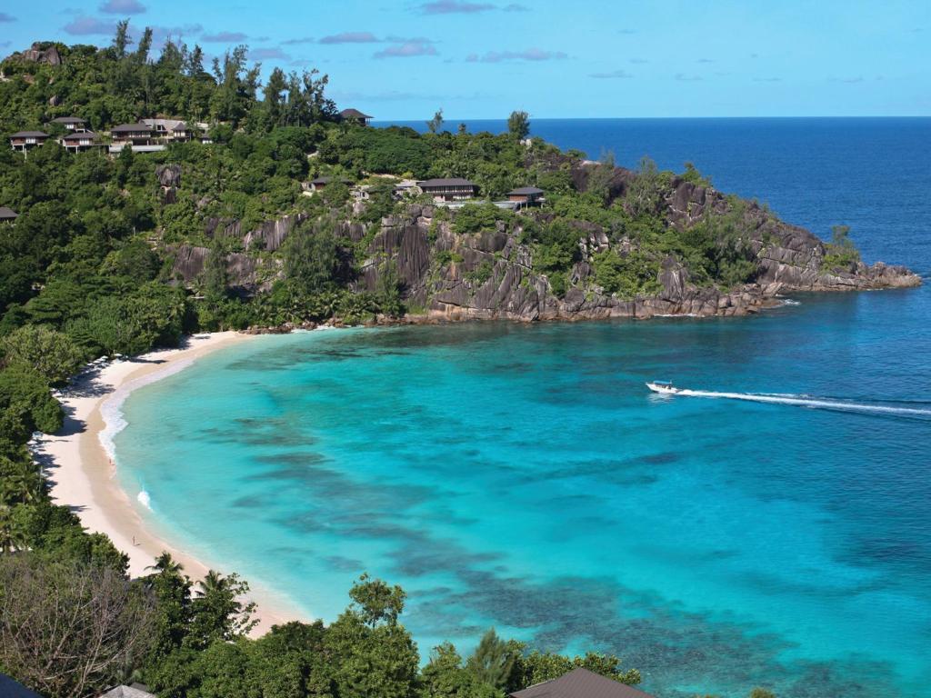 A bird's-eye view of Four Seasons Resort Seychelles