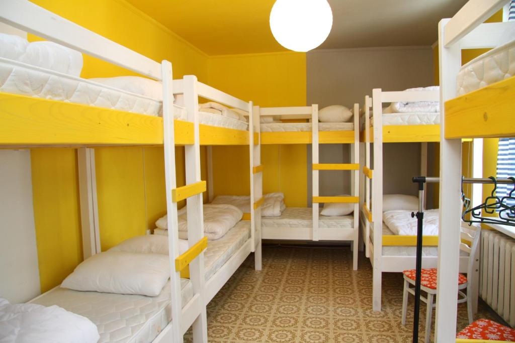 A bunk bed or bunk beds in a room at Chisinau Chill Hostel