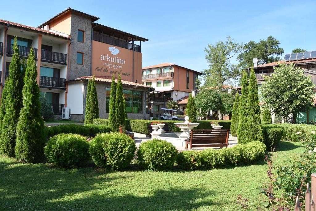 A garden outside Arkutino Family Resort