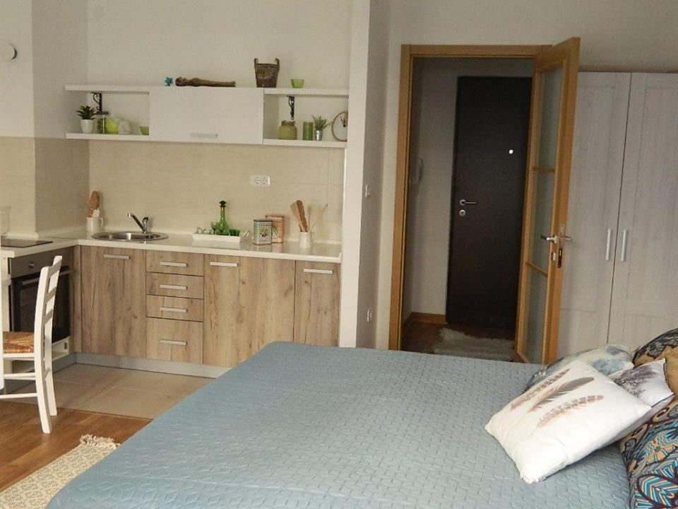 A kitchen or kitchenette at Apartman Kutak