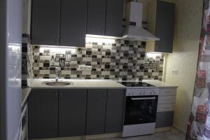 Virtuvė arba virtuvėlė apgyvendinimo įstaigoje Apartments raiduzhniy