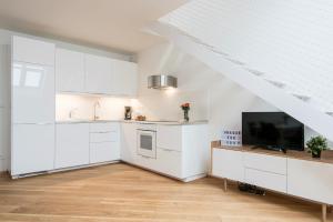 Кухня или мини-кухня в Rehorova apartments