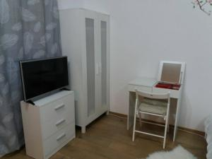 A television and/or entertainment center at TGM Apartment 1