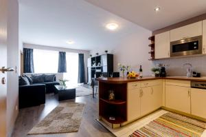 A kitchen or kitchenette at Sweet Home at the Danube with wellness