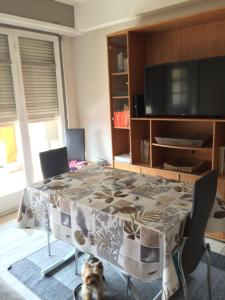 A television and/or entertainment center at Appartement cosy et agreable