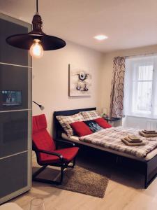 Tempat tidur dalam kamar di Luxury apartment Prague