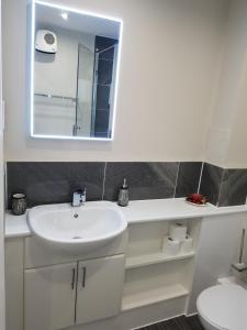 A bathroom at Glasgow's Modern & Stylish 3 Bedroom Aparment