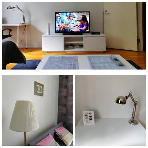 A television and/or entertainment center at Spacious apartment DIANA in Helsinki city center