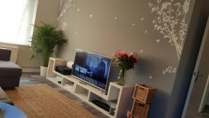 A television and/or entertainment center at New Contemporary Flat minutes from Airport & NEC
