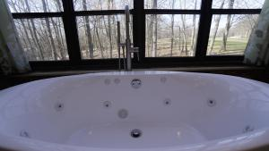 A bathroom at Pocono Mountains Chalet home at Lake Wallenpaupack-Pool Table-Fire Pit-Golf course views