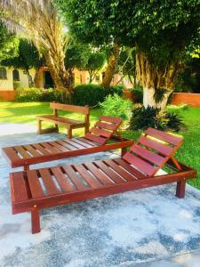 A garden outside Lovely Condo in Cancún 3bd/2ba near Beach & Mall.