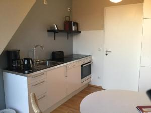 A kitchen or kitchenette at Holiday Apartments Old Fashioned Architecture in Trendy District Prenzlauer Berg