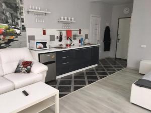 Кухня или мини-кухня в Apartments on Kalinina