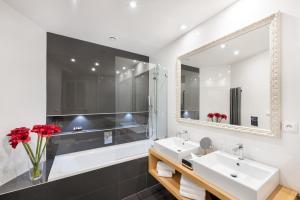 A bathroom at MOOo Downtown