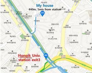 Vista aèria de Lovely House Hongdae