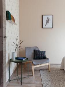 Area soggiorno di Shaulis Apartment on Nevsky 117