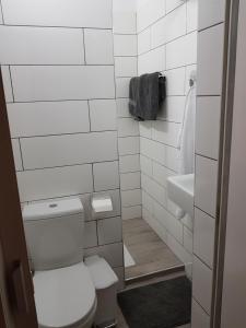 A bathroom at Mylos Court Apartments