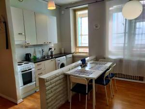 Kuchyň nebo kuchyňský kout v ubytování Spacious 44m2 STUDIO apartment in Helsinki city center