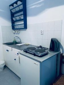 A kitchen or kitchenette at Pelagos Studios