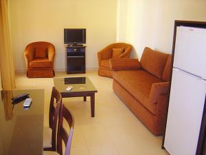 A seating area at Akti Villas