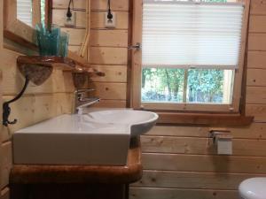 A bathroom at Ferienhaus Waldwichtel am Wald und See