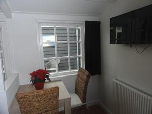 Een TV en/of entertainmentcenter bij Luxe Appartement Duinoord