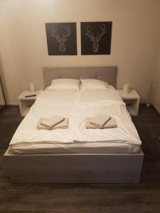 A bed or beds in a room at Mieszkanko w Centrum