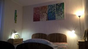 Кровать или кровати в номере Апартаменты на Солнечной