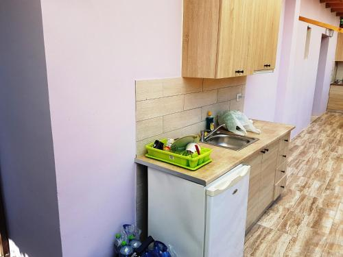 A kitchen or kitchenette at Studios Lefkada