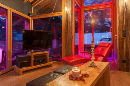 A television and/or entertainment center at Chalet Schwalbennest