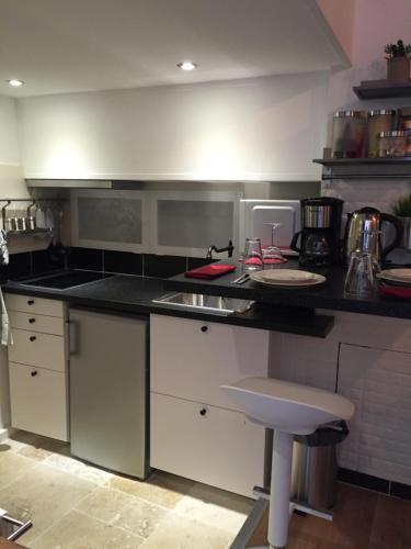 Cuisine ou kitchenette dans l'établissement Cosy apartment Marais Rosiers