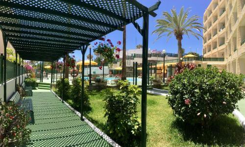 A garden outside Apartamentos las Dunas